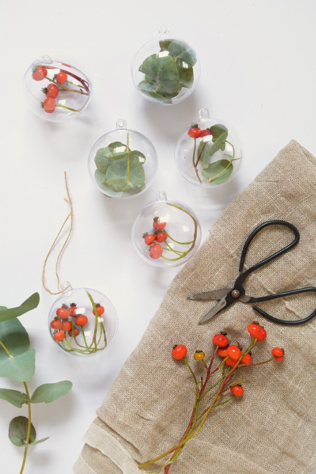 foliage filled baubles