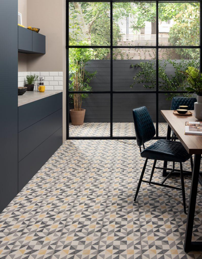 Tiles link outdoor and indoor spaces